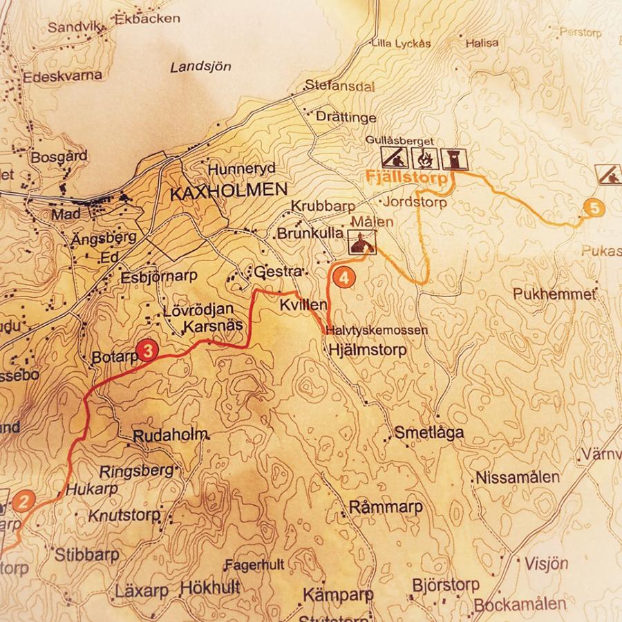 Karta över vandringsled