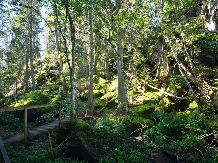 Mossa, bergssidor, bäcken som rinner genom ravinen - det är mycket som bidrar till myskänslan här